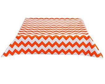 48x48 Chevron Orange Oilcloth Tablecloth with Simple Hem