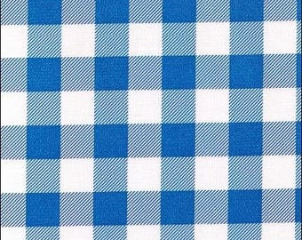 Round Large Gingham Blue Oilcloth Tablecloth