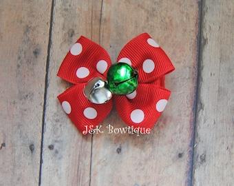Jingle bells hair bow, Christmas hair bow Bows, Red and white hair bow, hair bow, hair clip, holiday hair bow