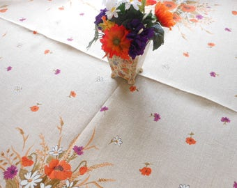 Vintage Linen Print Tablecloth