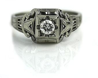 Antique Engagement Ring 1930's .20ctw Vintage Engagement Ring Old European Cut Diamond Art Deco 18kt White Gold Filigree Ring Vintage Ring
