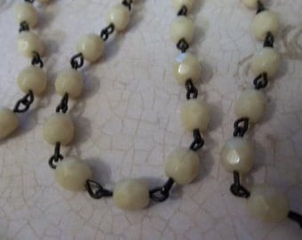 Bead Chain Ivory 6mm Fire Polished Glass Beads on Jet Black Beaded Chain - Qty 18 Inch strand