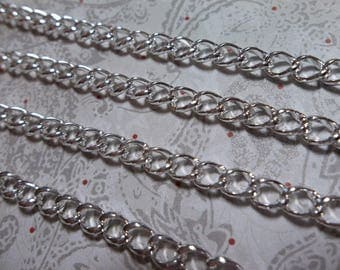 Silver Curb Chain - 4mm Link Size - Shiny Medium Curb Chain - 2 meter (6.56 foot) strand