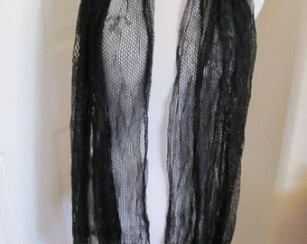 "Beautiful Antique Solid Black Woven Net Fringe Scarf - 18"" x 60"" Long"