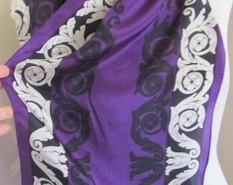 "Scarf Beautiful Purple Black Soft Silk Scarf // 11"" x 52"" Long"