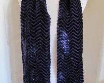 "Beautiful Dark Purple Fuzzy Flocked Silk Fashion Scarf  - 8"" x 56"" Long"