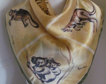 "Lovely Vintage Yellow Australia Souvenir Acetate Scarf // 26"" Inch 66cm Square"