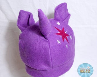 Purple Twilight Sparkle Cutie Mark with Ears Embroidered Fleece Beanie - Adult
