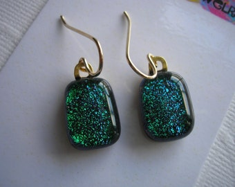 Petite Emerald Green Dichroic Glass Earrings 14K Gold Earwires Fused Glass Jewelry Small Lightweight Dark Green Sparkle Glass Dangles Girls