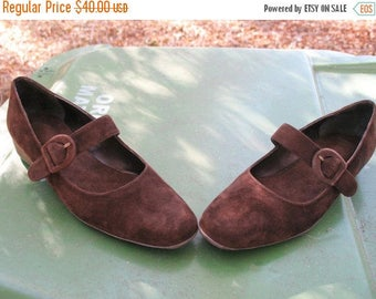 Never Worn MOD PREPPY BOHO  Brown Suede Mary Jane Flats Size 7 N From my Closet
