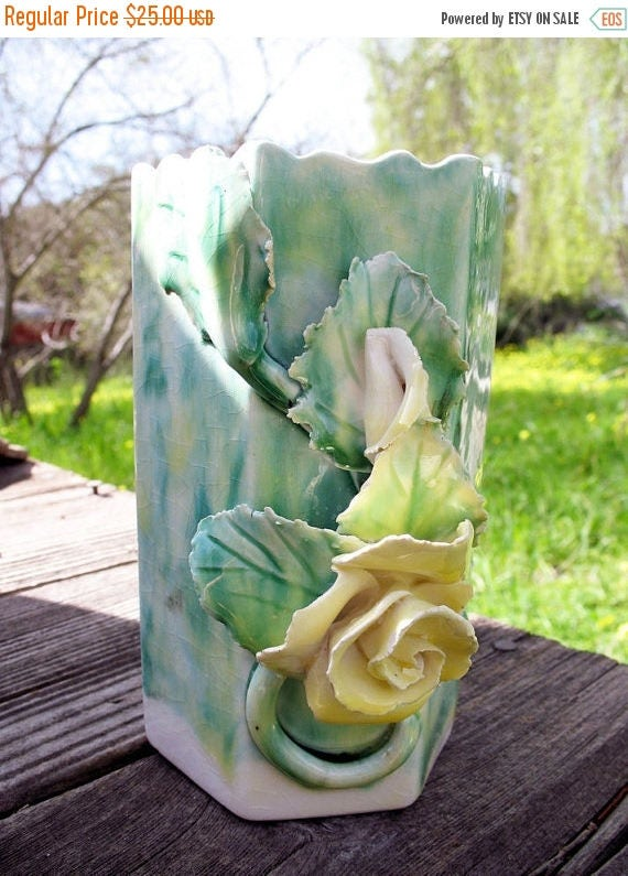 Spring Green and Yellow Roses  Cottage Chic Vase  Circa 1940 By Lora Aileen Hollywood California