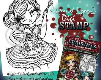 PRINTABLE Digi Stamp Holiday Baking Whimsy Girls Christmas Coloring Page Fun Fantasy Art Hannah Lynn
