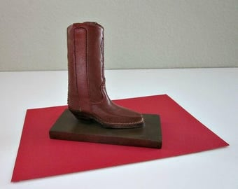 Vintage Leather Cowboy Boot & Brass Paper Weight - Western Decor -  Mans Desk Accessory - Brass and Leather Decor - Boys Room - Gift For Him