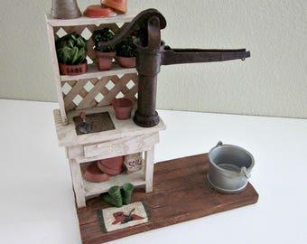 Vintage Cottage Chic Potting Bench, Tealight CANDLE HOLDER - Garden Art Collectible - Porch or Sunroom Decor - Shower Decoration - Bobann23