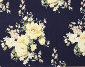 Navy Cream Yellow and Green Floral Brushed Poly Spandex Knit, 1 yard