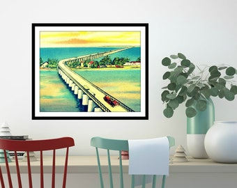 THE KEYS art print photograph Key West Florida vintage beach Pigeon Key coastal wall decor bridge aqua yellow travel vacation house art gift
