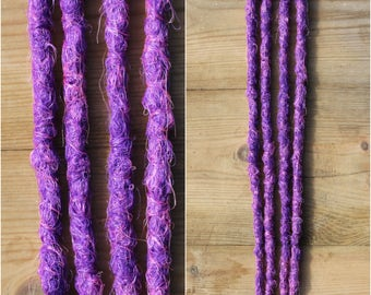 Pink and Purple Clip in Crochet Synthetic Dreads