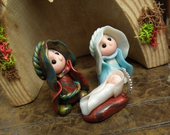 Holy Family Nativity Set * Crib with figures OOAK Sculpt by Sculpture Artist Ann Galvin