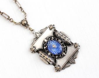 Vintage Art Deco Silver Tone Fancy Blue Rhinestone Necklace - 1930s Molded Guilloche Style Large Lavalier Pendant Statement Costume Jewelry