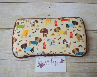 READY TO SHIP, Puppy Travel Baby Wipe Case, Dog, Personalized Diaper Wipes Case, Baby Shower Gift, Diaper Bag Wipe Clutch, Wipe Holder, Boy