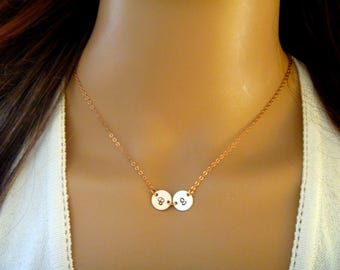 Two Initial Necklace - 2 Kids initials - Personalized Custom Initials - Combo color of  Rose gold fill, 14k gold fill, sterling silver