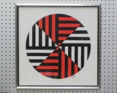 Modern Geometric Circle Print by Aetem, Red, Black and White