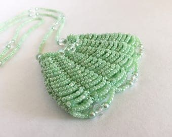 Light Green Beaded Amulet Bag Necklace