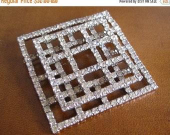 WINTER SALE Vintage Art Deco Square Designer Rhinestone Brooch Pin