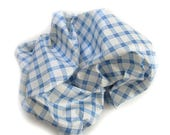 Check Windowpane Chintz Fabric - Blue & White  - Upholstery Drapery 5yds. off the bolt - Clover Plaid Pattern