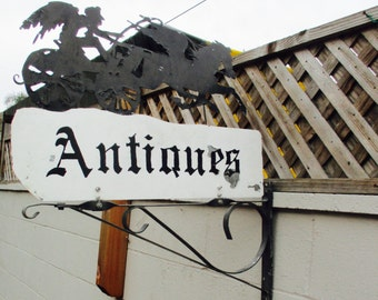 """Rusty Iron """"Antiques"""" Trade Sign Pegasus Horse  Antique Vintage Retail Store Display Bicycle two Sided Wrought Iron Industrial Boho Glam"""