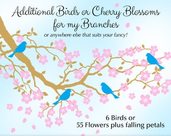 Birds or Cherry Blossoms Wall Decals (branch not included)