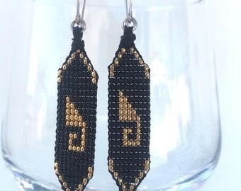 Beaded Greca  Earrings, Gold and Black from Oaxaca, Mexico
