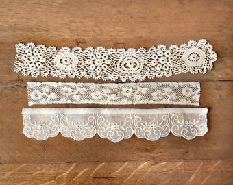 Assorted Antique Lace Trims,  Crochet, Organdy