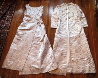 Stunning 50s/60s Silk Brocade Dress with Matching Coat