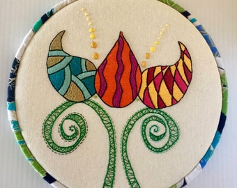 Funky Lotus Hand Embroidered Hoop Art