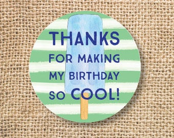 Popsicle Birthday Favor Tags Printable Boy Ice Cream birthday favor Green Blue Stripes Thank You Tag Pool Party Summer INSTANT DOWNLOAD