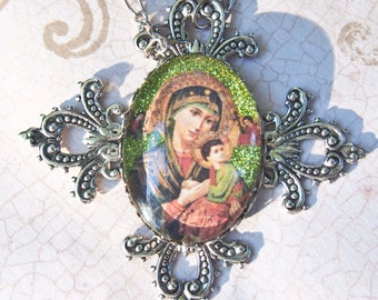 Our Lady of Perpetual Help with Cross Necklace