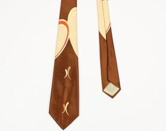 vintage 1950s abstract screen-printed necktie • light brown modernist design