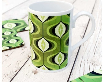 Green 1970s Op Art Mug - Retro Mug - Green Mug - 70s Retro Gift - Green Retro Home Decor - 70s style Mug - geometric mug - retro kitchen