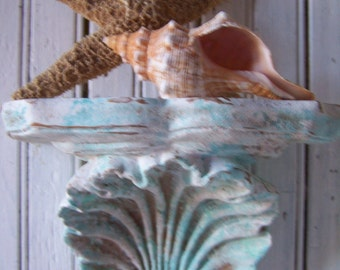Beach Cottage Decor Re-styled Shell Wall Shelf  Colors of the Sea Crusty Weathered Artful Faux Finish Keepsake Display Elegant Eclectic