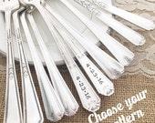 Mr. & Mrs. Add date and name, vintage wedding forks viande, hand stamped. You choose pattern
