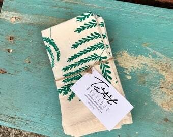 Botanical Fern Printed 100% Cotton Unbleached Napkins