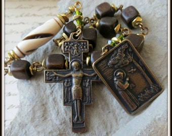 St. Francis Rosary, Single Decade Rosary Tenner Wire Wrapped in Bronze w/ San Damiano Crucifix, Burnt Horn Rosary