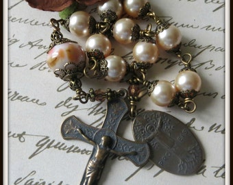 Wire Wrapped St. Anne Single Decade Rosary in Swarovski Pearl & Lampwork