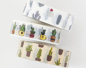 Washi Tape Set -Cactus/Succulent Series - value pack - DIY - packaging - decorative tape - Love My Tapes