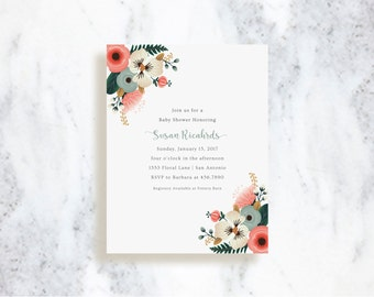 Bridal Shower Invitations | Bridal Bouquet | Birthday Party Invite | Baby Shower