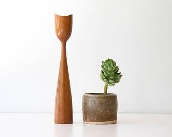 Vintage Danish Modern Wood Candle Holder - Mid Century