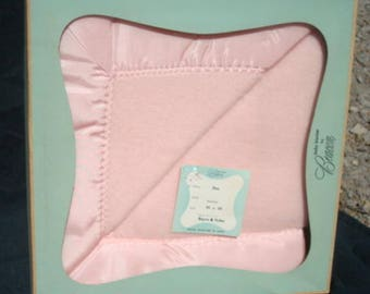 Vintage Baby Blanket in Box Never Used Pink Baby Blanket Baby Shower Gift Baby Girl Blanket