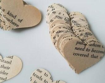 Vintage Book Paper Heart Confetti / Hear Confetti / Wedding Confetti / Bridal shower / Graduation party /  Vintage Party Theme