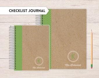 Checklists journal,  Checklist journal, checklist, to-do lists, tracker, green kraft monogram